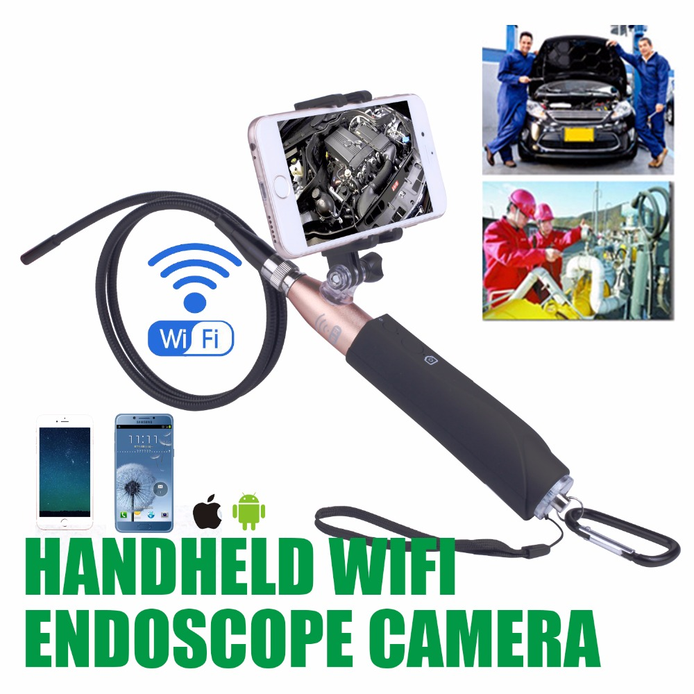 EC570 Wifi Endoscope for iPhone Android Inspection 8mm Camera Waterproof Semi rigid Snake Cable for Engine