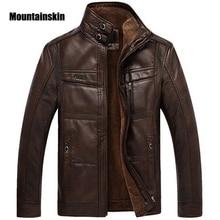 Кожаная куртка для горного спорта, мужские пальто, 5XL, брендовая Высококачественная верхняя одежда из искусственной кожи, мужская деловая зимняя куртка из искусственного меха, флисовая EDA113