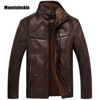 Veste en cuir de peau de montagne hommes manteaux 5XL marque haute qualité PU vêtements d'extérieur hommes d'affaires hiver fausse fourrure mâle veste polaire EDA113