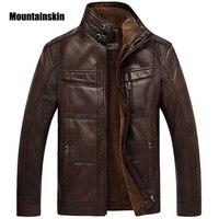 Мужская утепленная куртка из ПУ кожи Mountainski, деловая коричневая куртка на искусственном меху, уличная одежда, размеры до 5XL, зима 2019