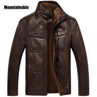 Mountainskin Leder Jacke Männer Mäntel Marke Hohe Qualität PU Oberbekleidung Männer Business Winter Faux Pelz Männlichen Jacke Fleece EDA113