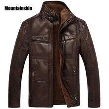 Mountainskin Leder Jacke Männer Mäntel 5XL Marke Hohe Qualität PU Oberbekleidung Männer Business Winter Faux Pelz Männlichen Jacke Fleece EDA113