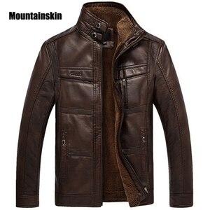 Image 1 - Mountainskin jaqueta couro sintético masculina, casacos de lã alta qualidade pu para uso externo, de negócios no inverno 5xl eda113