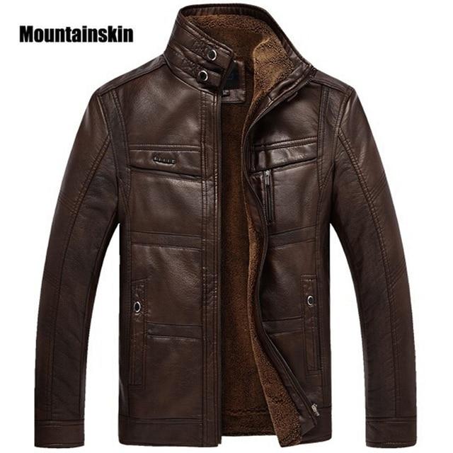 Mountainskin jaqueta couro sintético masculina, casacos de lã alta qualidade pu para uso externo, de negócios no inverno 5xl eda113
