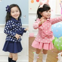 Free Shipping Children S Clothing Wholesale Autumn New Girl S Little Lady Little Skirt Suit Long