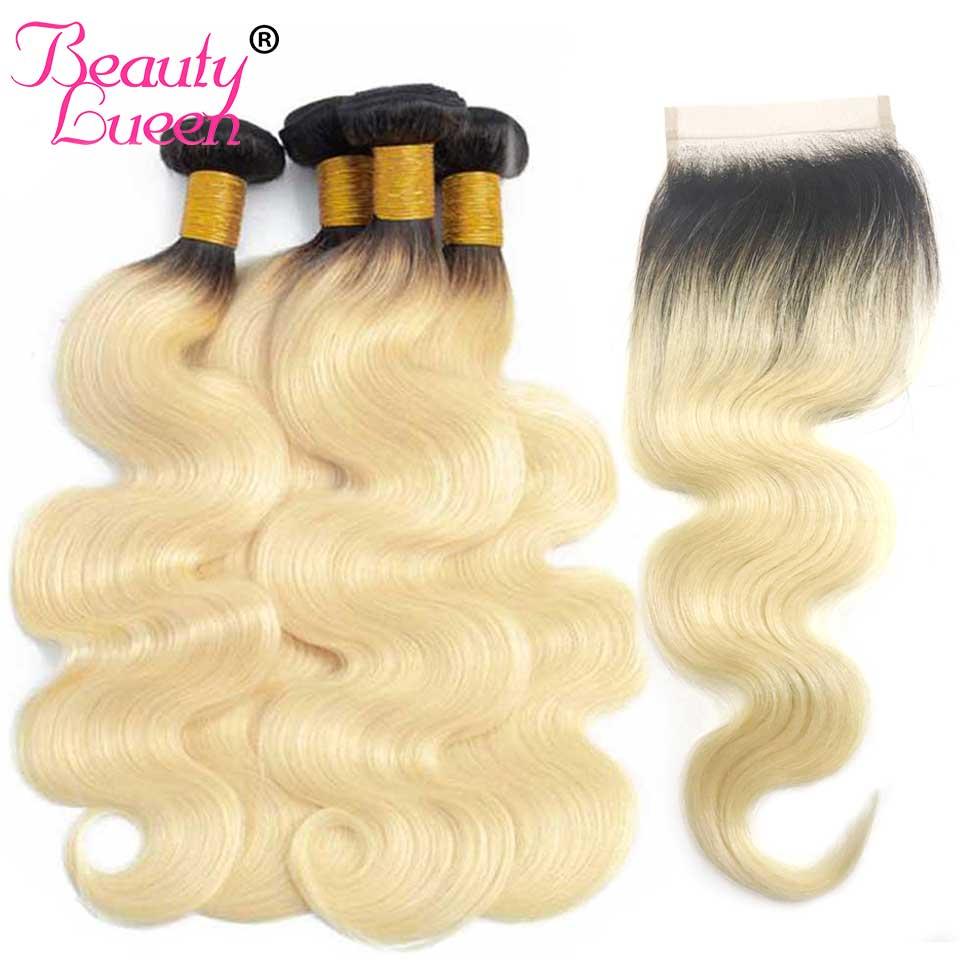 Ombre Honey Blond Brazilian Hair Bundles With Closure 613 Brazilian Body Wave Bundles With Closure Remy