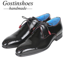 GOSTINSHOES HANDMADE Goodyear Welted Men's Formal Derby Shoes Black Cow Leather Lace-up Pointed Toe for Office Wedding SCZ035