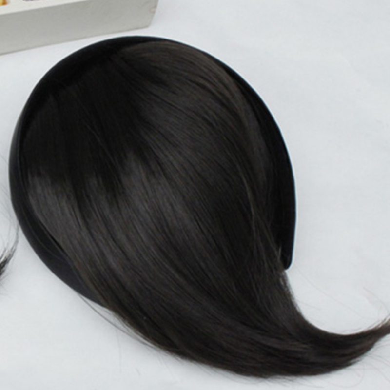 Natural Front Tilted Hairband Fringe Hair Extensions Top Closure