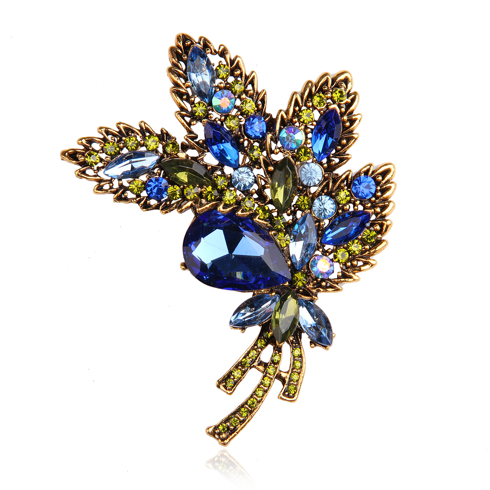 Blue Full Crystal Rhinestone Brooches Jewelry Vintage Luxury Plant Shape Brooches For Women Safety Pins For Wedding Party