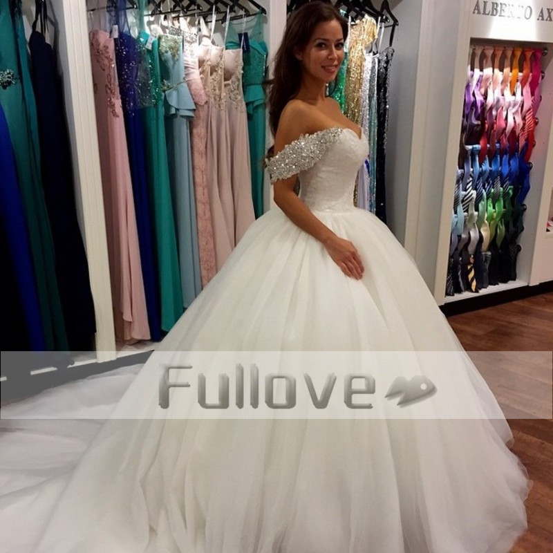Lavish Crystal Bodice Corset Tulle Princess Wedding Dresses ...