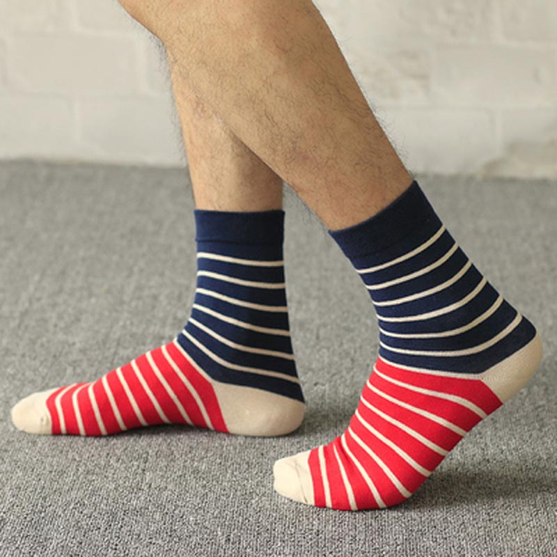 New Cotton Socks Men Antibacterial Leisure Comfortable Breathable Striped Sporting Socks For Male Calcetines Meias