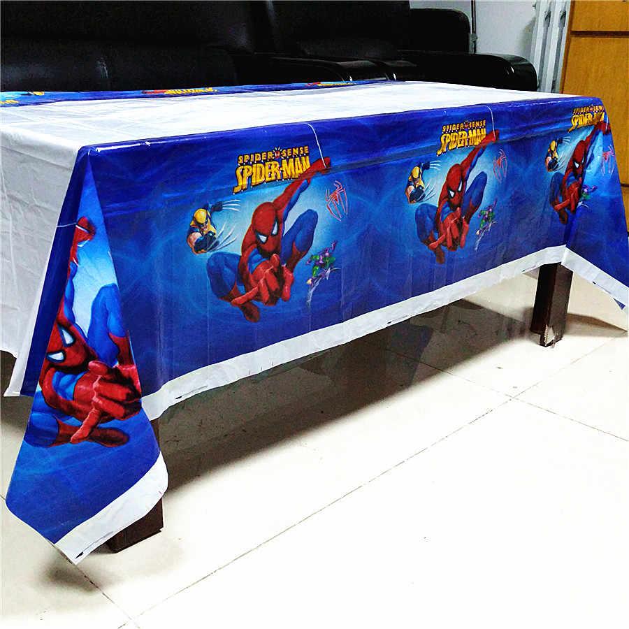 スパイダーマンテーブルクロス使い捨てテーブルクロススパイダーマンテーマキッズハッピーバースデーパーティー用品装飾プラスチックテーブルカバー