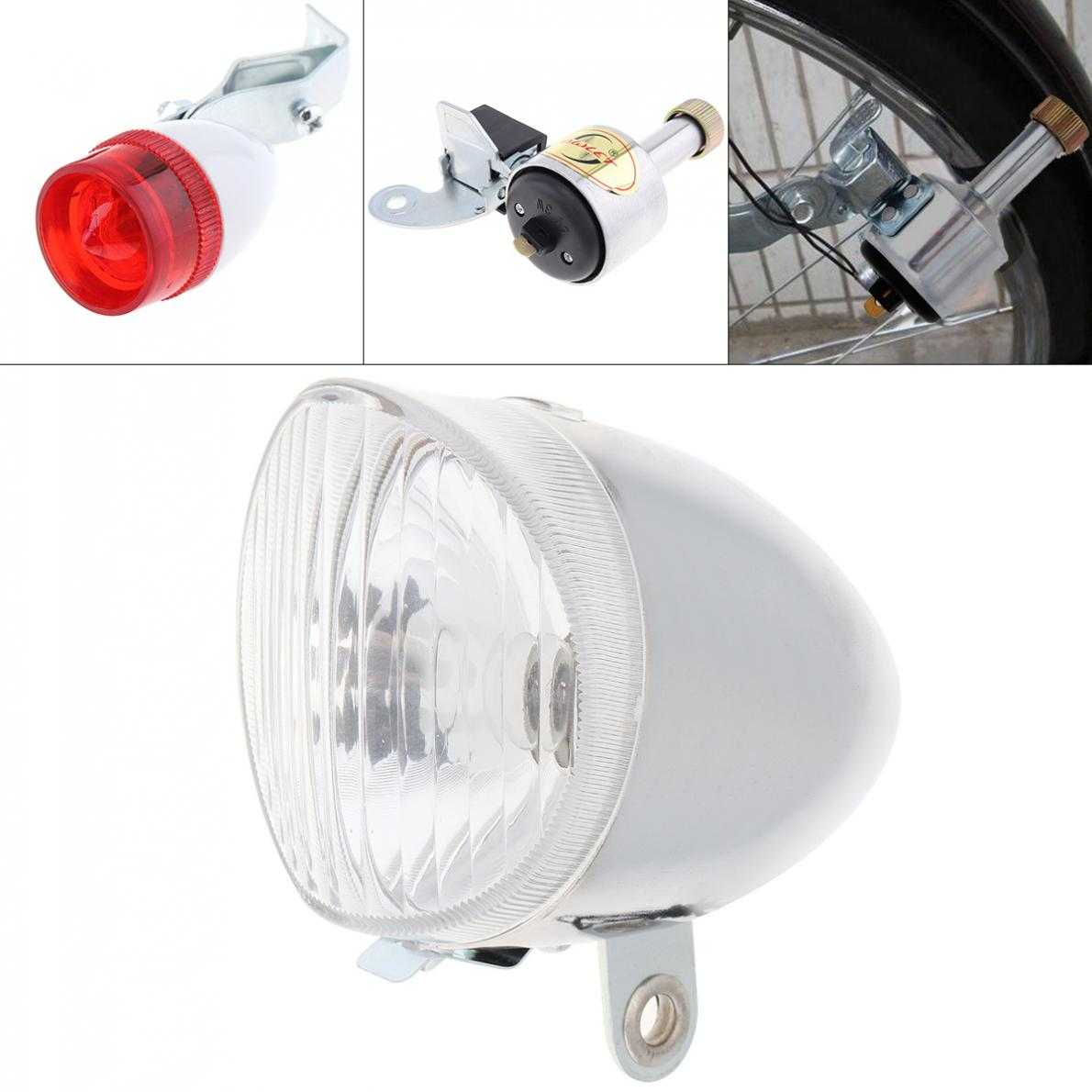 6V 3W Silver Bike Bicycle Dynamo Lights LED Self-powered Front Light Headlight And Rear Light LED Lamp Sets Safety For Bicycle
