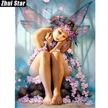 """Zhui Star Full Square Drill 5D DIY Diamond Painting """"Butterfly Fairy"""" 3D Embroidery set Cross Stitch Mosaic Decor gift VIP"""