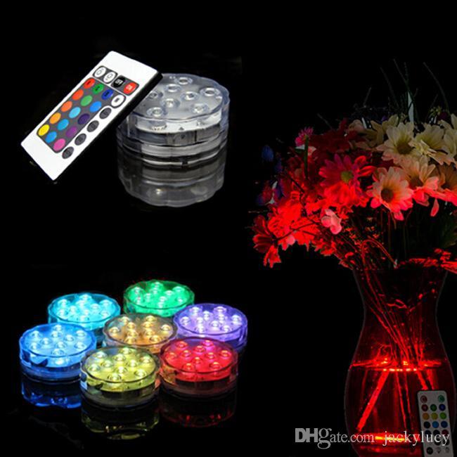 새로운 10 LED 잠수 할 수있는 양초 램프 원격 제어 여러 가지 빛깔의 꽃병베이스 방수 라이트 웨딩 생일 파티 장식