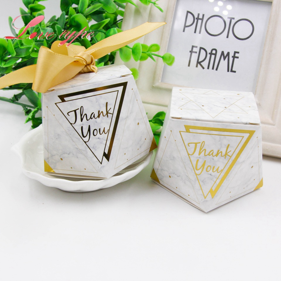 10pcslot Thank You Gift Box Gold Stamping Candy Pattern Kraft Paper