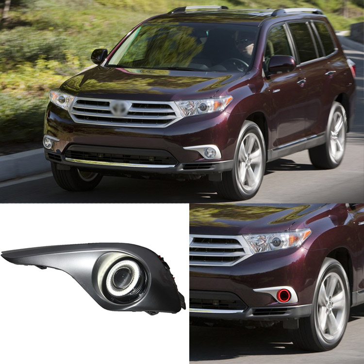 Ownsun Superb 55W Halogen Bulbs COB Fog Lights Source Angel Eye Bumper Cover For Toyota Highlander 2012