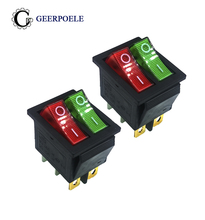 2 pcs/lot KCD4 31*25mm RED/GREEN Led Copper feet 6PIN DPDT Boat Rocker Switch on off Snap-in Position switch 16A 250V Light ac 250v 16a 4 pin on off i o 2 position dpst snap in boat rocker switch 28x21mm