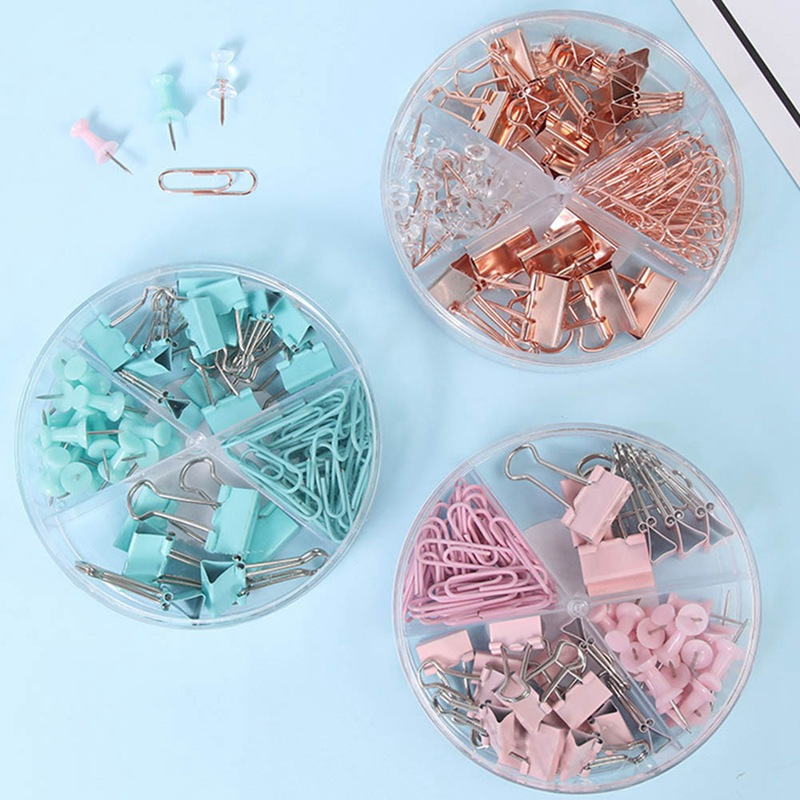 Push Nail Binder Clip Rose Gold Paperclips Clamp Combination Office  Stationery Long Tail Metal Clips Office Binding Supplies