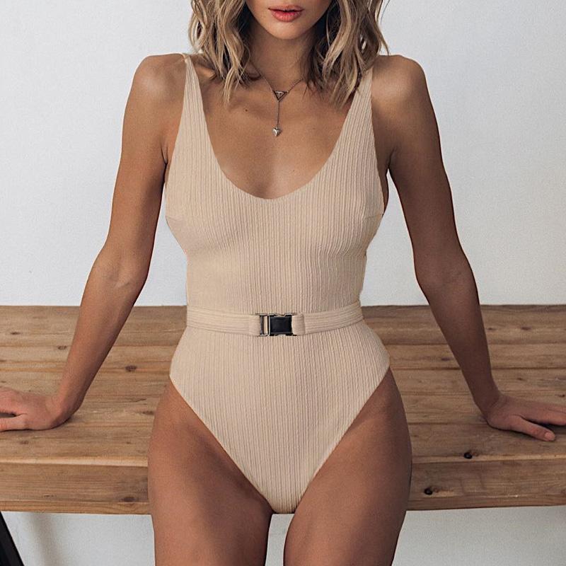 Одноцветный купальный костюм с бретельками, модель 2020 года, сексуальный купальник для женщин, с поясом, с высокой посадкой, пляжная одежда, u-... 35