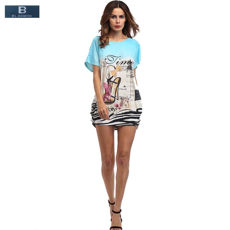 EL BARCO 2017 Fashion Cotton Short Sleeve Summer T Shirt Women Tops Tees Blusa Print