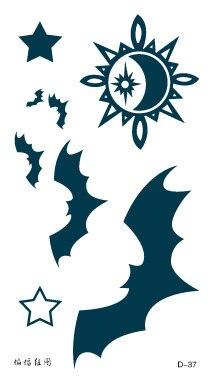 Temporary Tattoos Stickers Waterproof Creative Stars Sun Bat Designs Fake Art Body Makeup Hot Y Set Whole