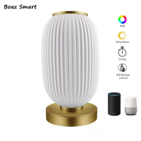 Boaz Tuya 3D Print Smart WiFi Table Lamp Alexa Google Home Colorful LED Bedside Night Lamp Voice Control Smartphone APP Control
