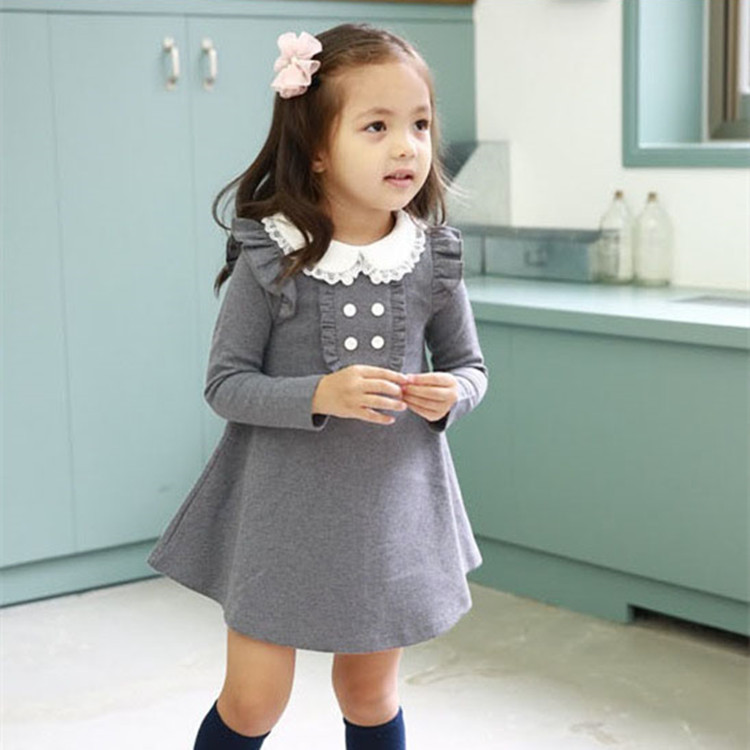 2017 spring autumn new arrival cotton girl korean clothes doll collar long sleeved casual girls A-line mini dress kids clothing
