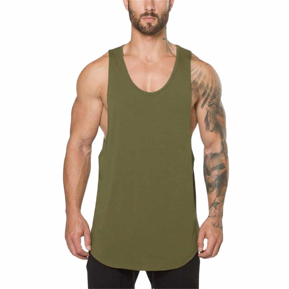 Pria Gym Binaraga Kebugaran Otot Tanpa Lengan Singlet Top Rompi Pakaian Pria Debardeur Homme Abbigliamento Uomo
