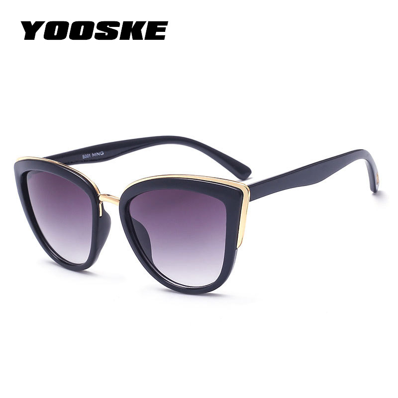 YOOSKE Cateye Sunglasses Women Luxury Brand Designer Vintage Gradient Glasses Retro Cat eye Sun glasses Female Eyewear UV400