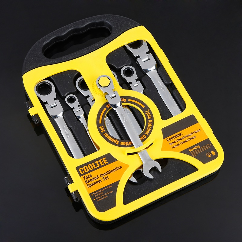 7Pcs/Set Auto Flexible Head Sleeve Combination Tool Ratchet Handle Wrench Spanner Set of Hardware Car Repair Hand Tools 8-19