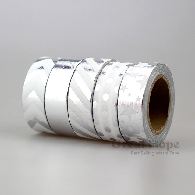 silber farbe neue 5x15mm nette band washi klebeband set fa 1 4 r klebe scrapbooking werkzeuge partei kawaii silberfarbene schuhe pumps