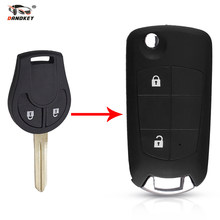 Dandkey 2 botões inteligente flip dobrável remoto caso chave escudo fob para nissan cube micra qashqai juke fob modificado chave
