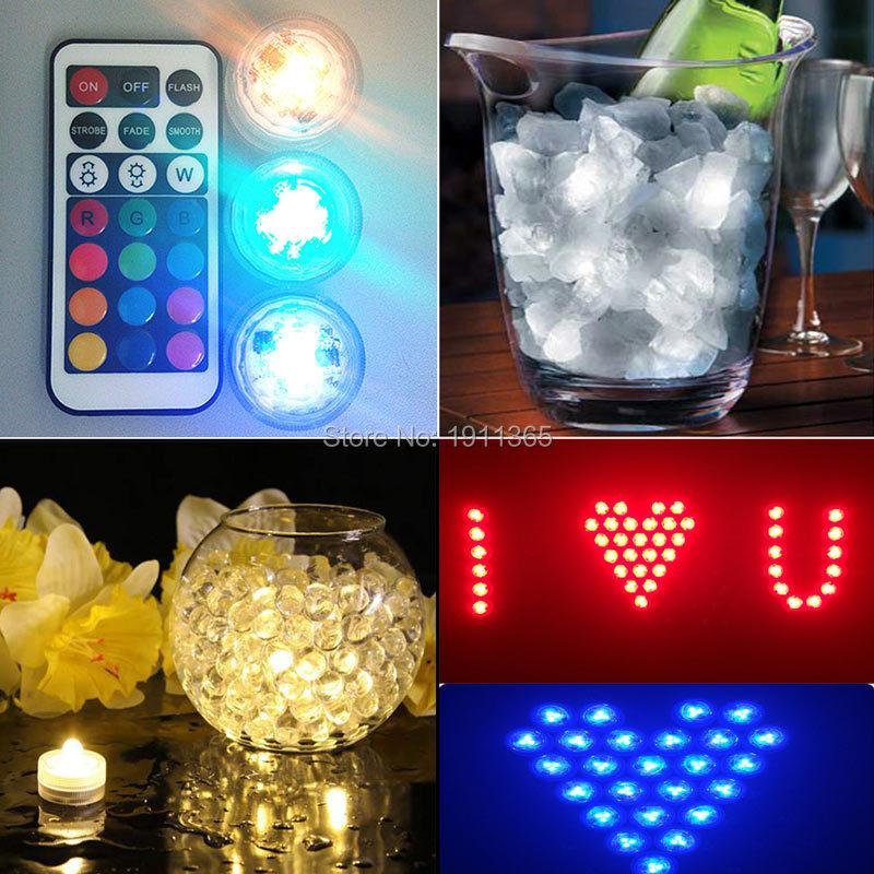 50pcs Hiasan Perkahwinan Kawalan Jauh Submersible LED Parti Jadual - Pencahayaan perayaan - Foto 6