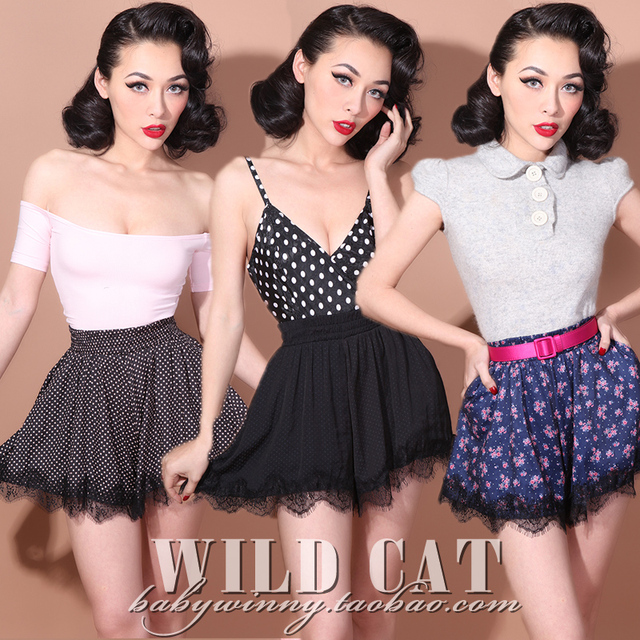 FREE SHIPPING Limited edition vintage sweet sexy lace patchwork silks and satins all-match polka dot high waist culottes