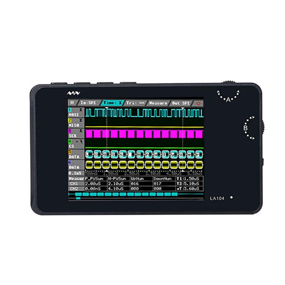 Portátil digital analisador lógico la104 usb mini 4 canais 100 mhz taxa de amostragem máxima construído em 8 mb armazenamento flash 2.8 Polegada osciloscópio
