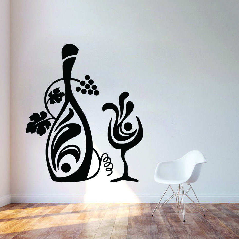 Creative Kitchen Wall Decor: Kitchen Decor Grapevine Wall Decals Creative Design Floral Bottle Glass Of Wine Wall Stickers