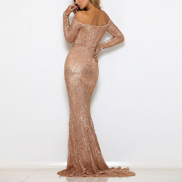 2018 Sexy Sequin Dresses Slash Neck Champagne Gold Sequined Maxi Dress Full  Sleeves Floor Length Evening Party Dress Gown 89171b5b5955