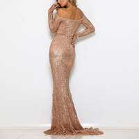 2018 Sexy Sequin Dresses Slash Neck Champagne Gold Sequined Maxi Dress Full Sleeves Floor Length Evening Party Dress Gown