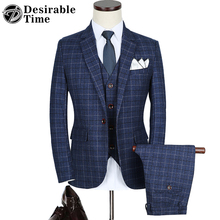 Mens Blue Plaid Suits with Pants M-5XL Fashion New Arrival Slim Fit Wedding Suit Men (Jacket+Vest+Pants) DT075