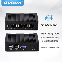 QOTOM Mini PC Q190G4U with 4 Gigabit NIC to build a router/ firewall, Fanless PFSense appliance, J1900 Mini PC Quad core 2 GHz