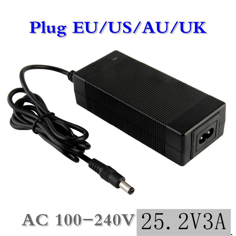 1 Pc Best Price 25.2 V 3A Li-Ion Battery Charger For Series 6 21.6 V 22.2 V 14500, 14650, 17490, 18500, 18650, 26500 Polymer Lit