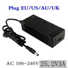 1 pc best price 25.2 V 3A Li-Ion battery charger for series 6 21.6 22.2 14500, 14650, 17490, 18500, 18650, 26500 polymer lit