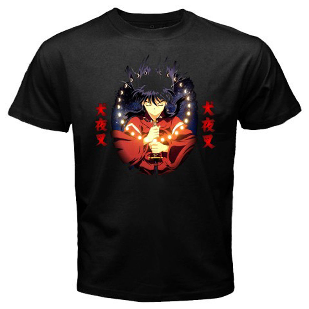 New Inuyasha *Dog Half Demon Anime Manga Icon Men's Black T-Shirt Size  Cartoon t shirt men Unisex New Fashion tshirt