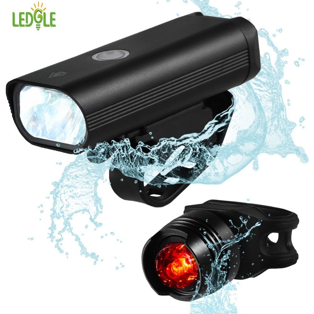 Alloy LED Front Headlight Bike Light Set Bicycle Taillight USB Rechargeable