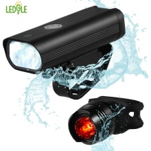 LEDGLE Rechargeable Bike Light Set Waterproof Bicycle Headlight and Tail Light LED Bicycle Front and Back Lights with USB Cable
