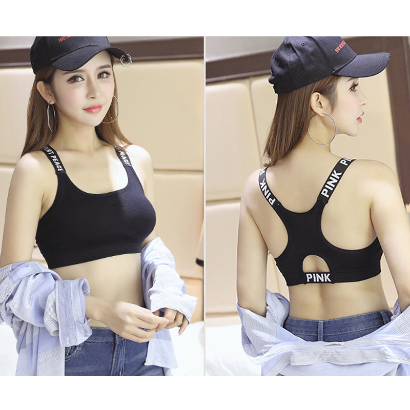 4f3096b6e1444 Pink Fitness Women Sport Bra Top Black Padded Push Up Sports Bra Yoga Bra  Running Brassiere