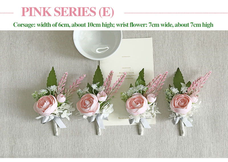 bridal wrist corsage Groom Groomsman boutonniere Brooches rose artificial wedding flower  (5)