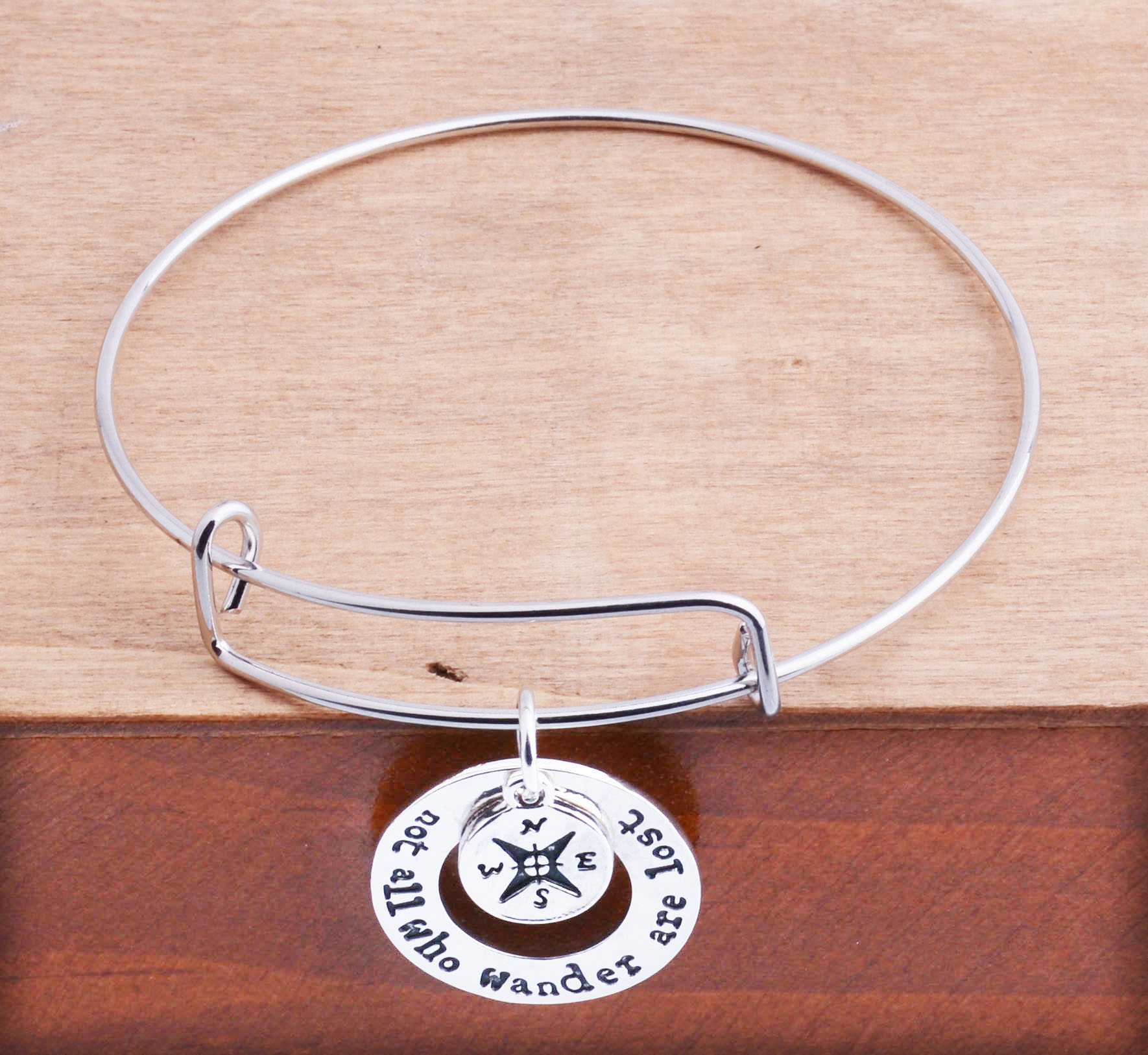 Compass Charm Bracelet Not All Who Wonder Are Lost Bangle Silver Plated Gifts For Women Men Jewlery