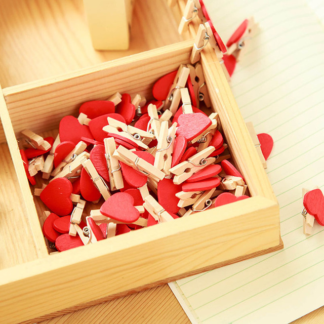Red mini heart love wooden clips wedding decoration DIY picture wall ...